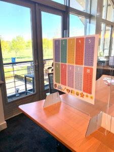 Voorbeeld bureau scherm dubbel met reken tafels